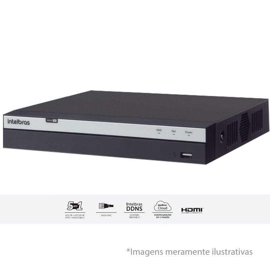 DVR Stand Alone Intelbras 3016 16 Canais Full HD 1080p Multi HD + 8 Canais IP 5 Mp