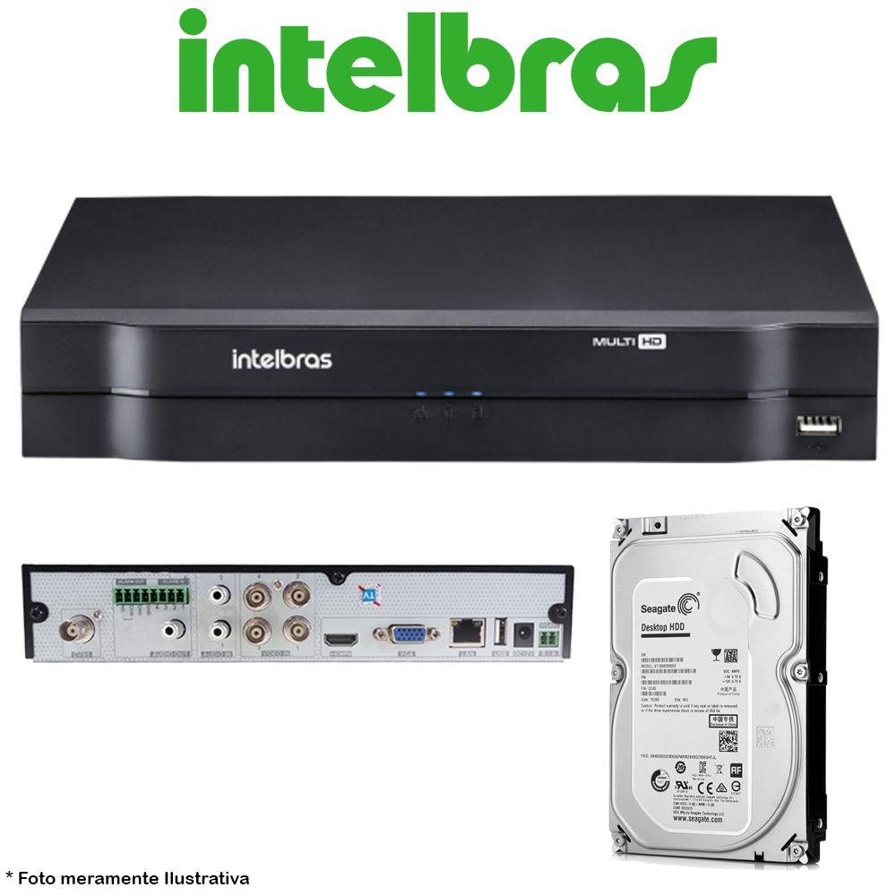 DVR Stand Alone Multi HD Intelbras MHDX-1104 4 Canais + HD 500GB Pipeline de CFTV