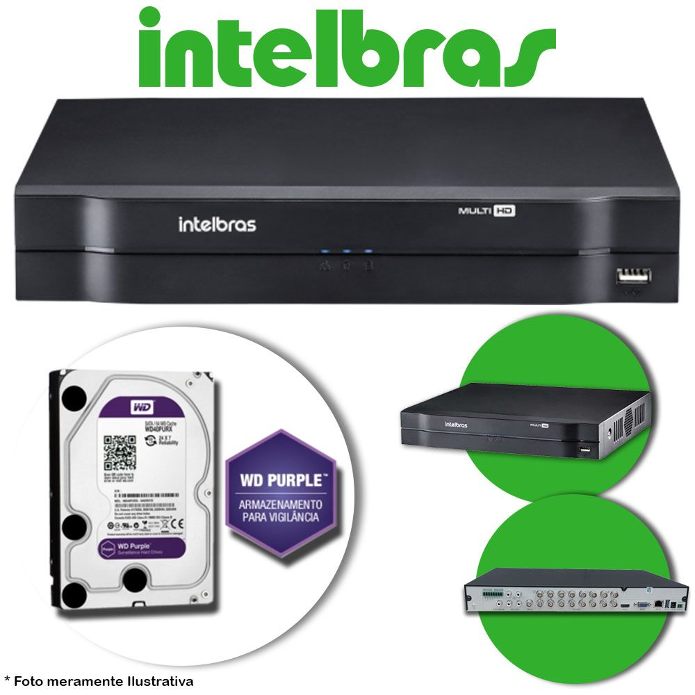 DVR Stand Alone Multi HD Intelbras MHDX-1016 16 Canais + HD 1TB WD Purple de CFTV