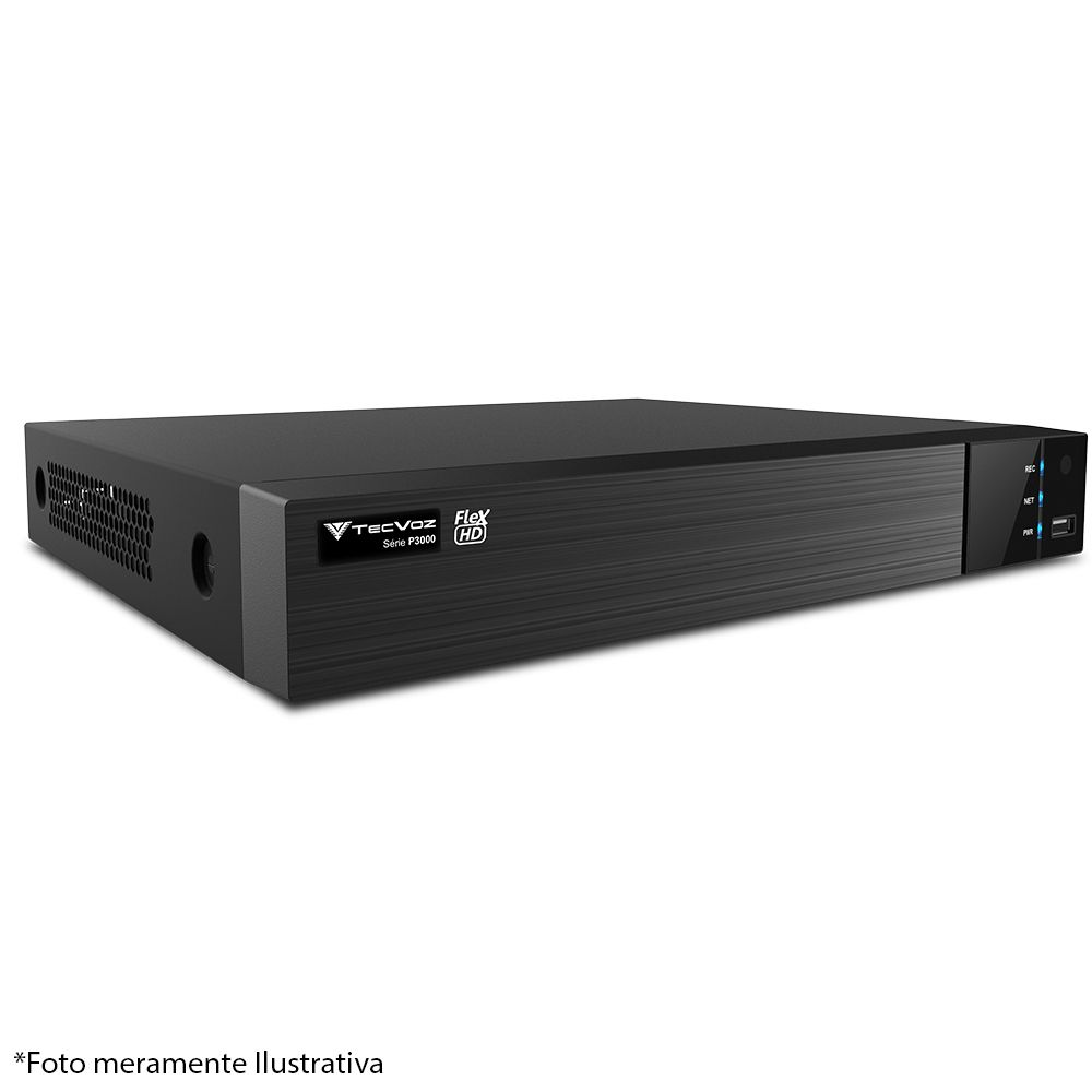 DVR Stand Alone Tecvoz TW P308 8Ch 720p Flex 5 em 1 AHD + HD WD 1TB Purple de CFTV