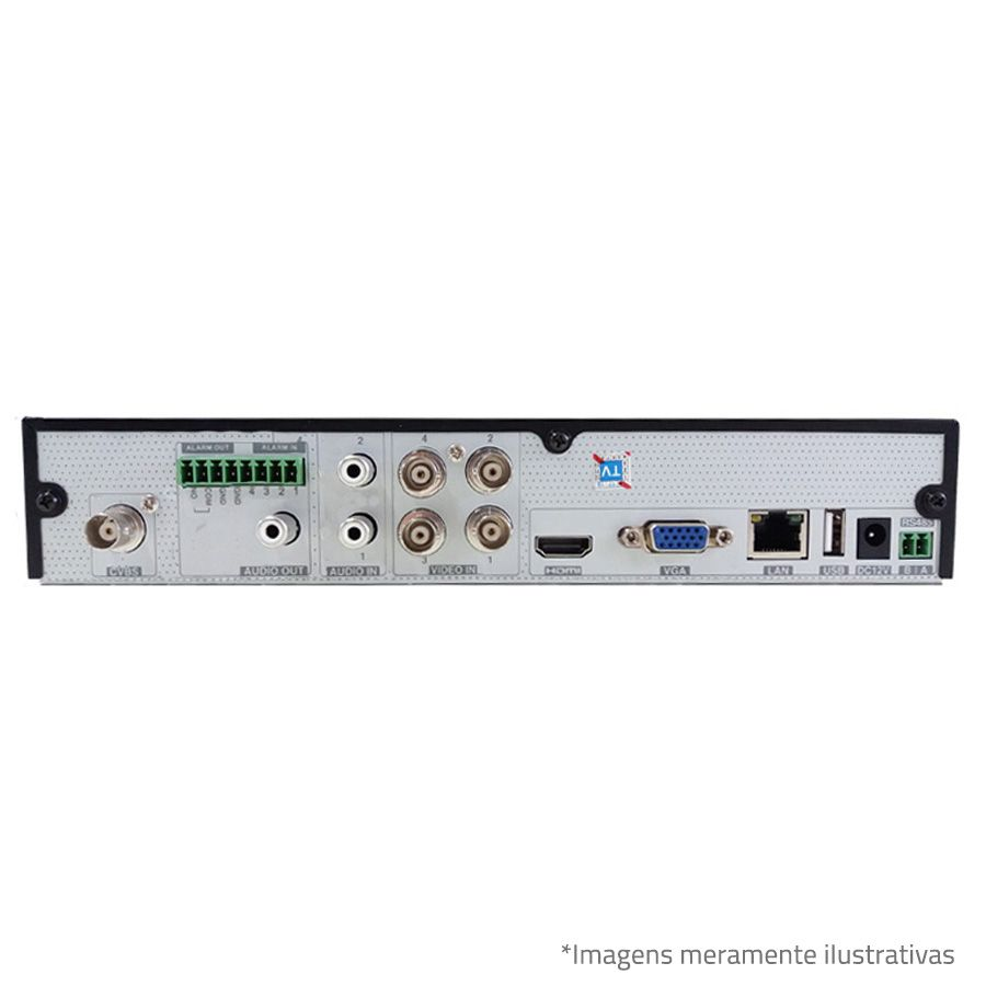 DVR Tecvoz TWE304 4Ch 720p Flex 5 em 1 AHD + HD WD 1TB Purple de CFTV