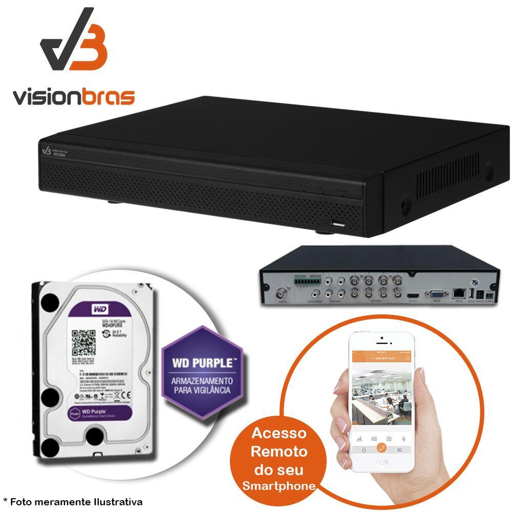 DVR UltraHD Visionbras XVR 4108 8 Canais 720P + HD 2TB WD Purple de CFTV