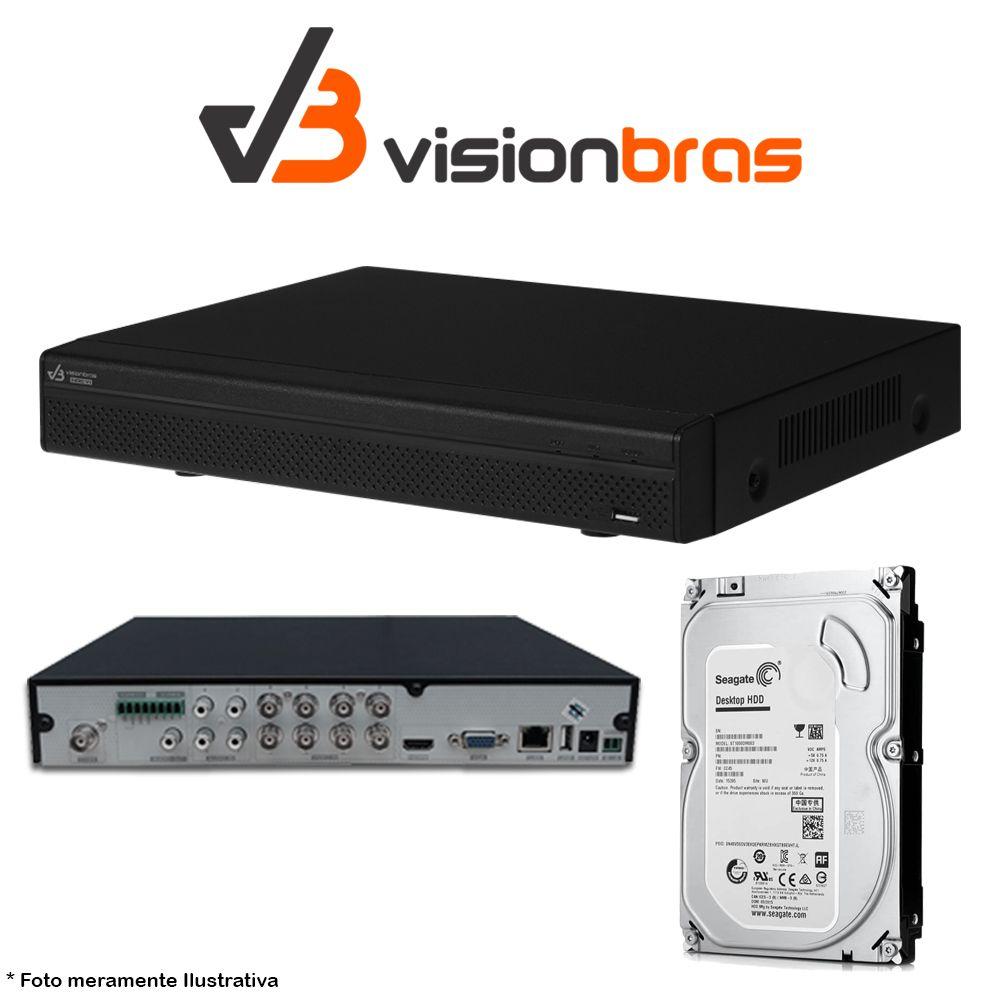 DVR UltraHD Visionbras XVR 4108 8 Canais 720P + HD 500gb Pipeline Pul de CFTV