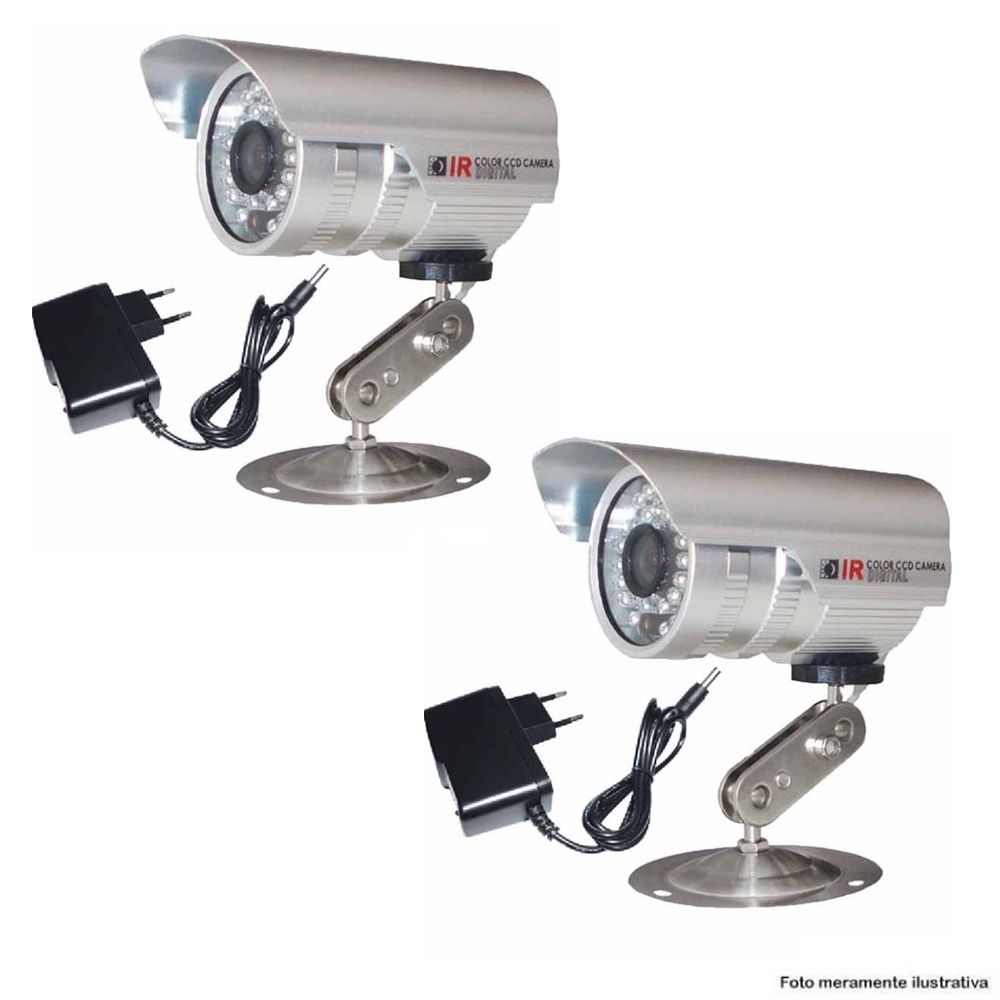 Kit 2 Câmeras CCD Bullet Infravermelho 1200 TVL 1/3 3,6MM + 2 Fonte