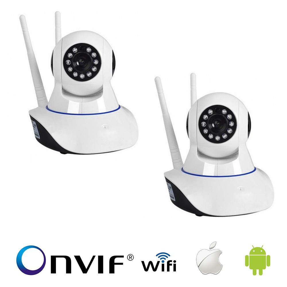 KIT 2 Câmera IP Sem Fio Wifi HD 720p Robo Wireless