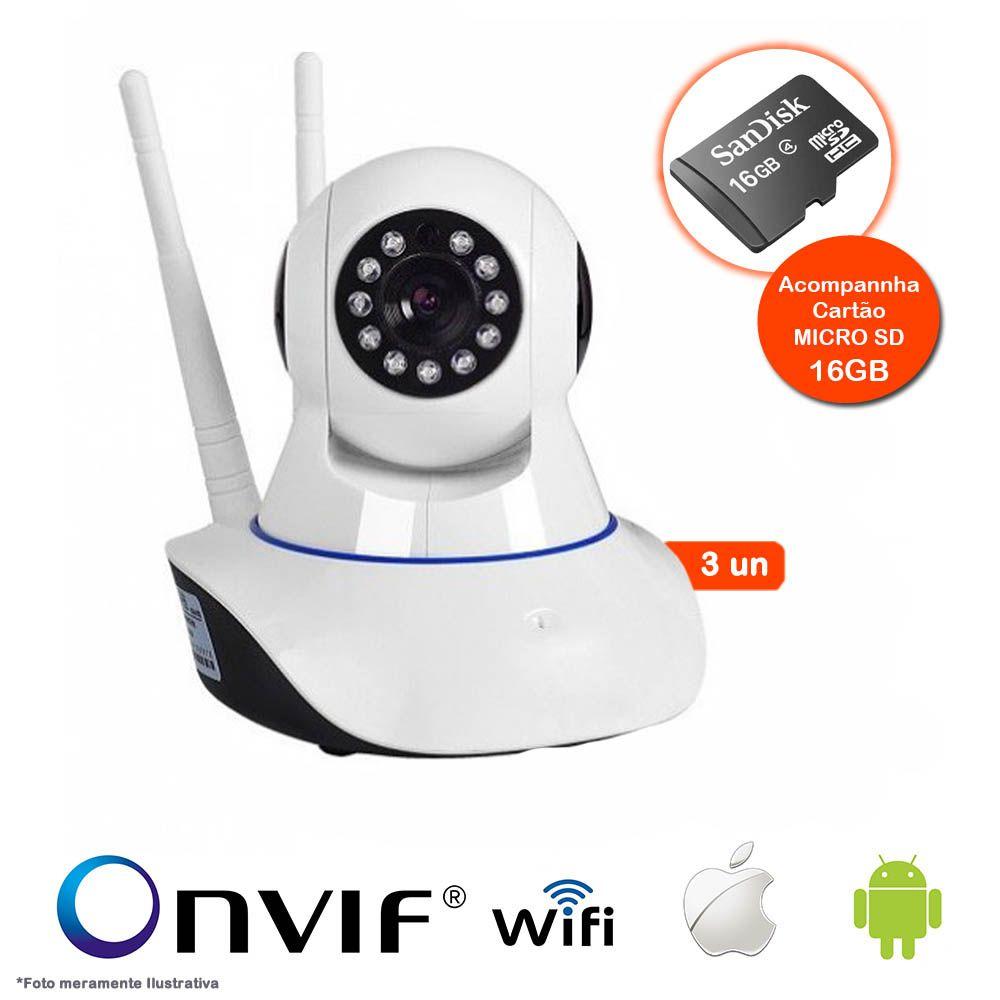 KIT 3 Câmeras IP Sem Fio Wifi HD 720p Robo Wireless, Com áudio, Grava em Cartão SD, com 2 Antenas e Visão Noturna com Micro SD 16GB