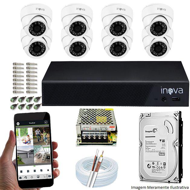 Kit Cftv 08 Câmeras Inova MULTHD 1020D Dome 720p Dvr 08 Canais Inova 1080N Mult-HD + HD 1TB