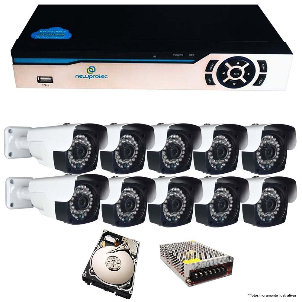 KIT CFTV 10 Câmeras AHD 2.0mp + DVR 16 Canais 5 em 1 com HD 1TB
