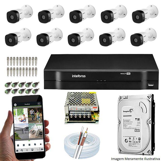 Kit Cftv 10 Câmeras Bullet HDCVI Lite VHL 1120B 720p G4 Dvr 16 Canais Intelbras MHDX + HD 2TB