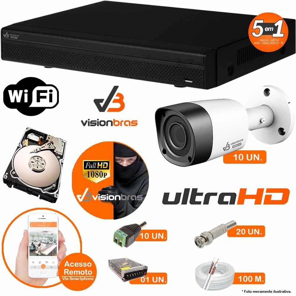 Kit Cftv 10 Câmeras Visionbras 2MP 1080p 3,6MM Dvr 16 Canais Visionbras XVR 1080p + HD 250GB