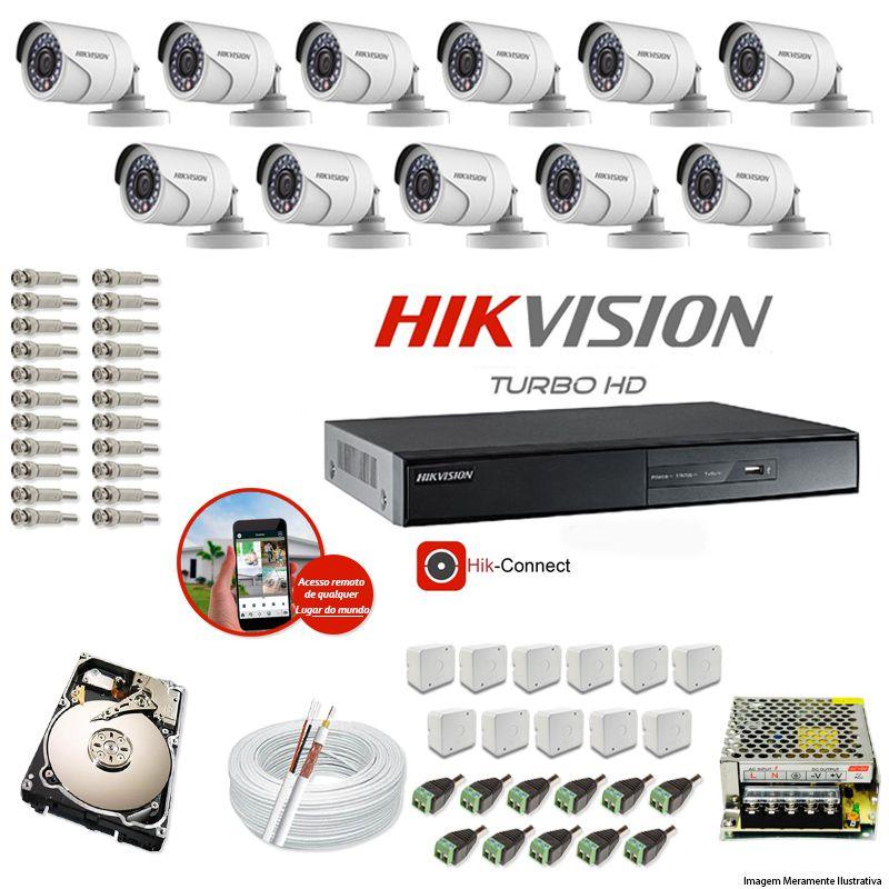 Kit CFTV 11 Câmeras Hikvision DVR 16 canais DS-7216 HD 320GB