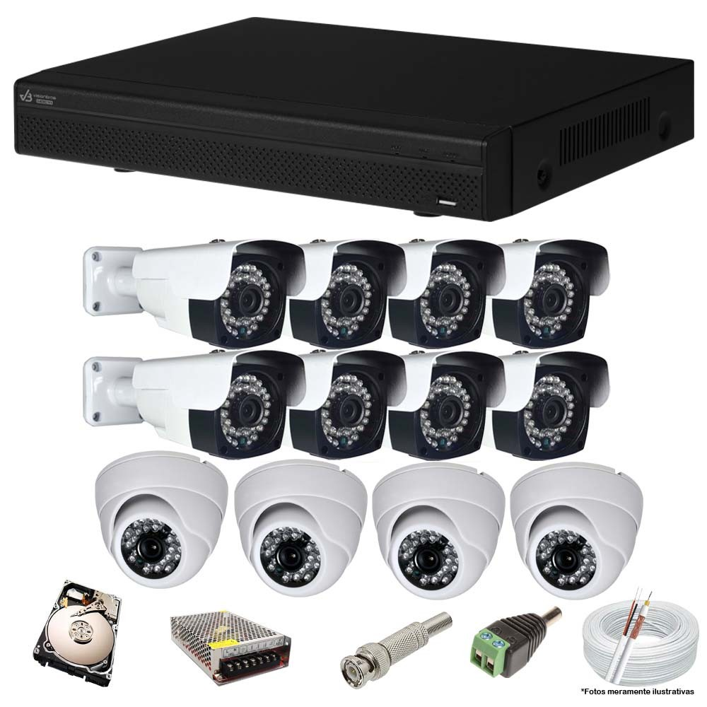 KIT CFTV 12 Câmeras AHD 2.0Mp + DVR 16 Canais VISIONBRAS com HD 2TB Completo