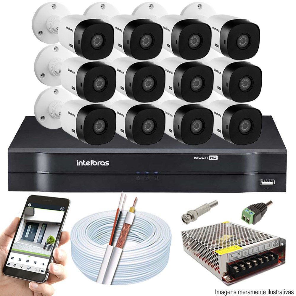 Kit Cftv 12 Câmeras Bullet HDCVI Lite VHL 1120B 720p G4 Dvr 16 Canais Intelbras MHDX + ACESSÓRIOS