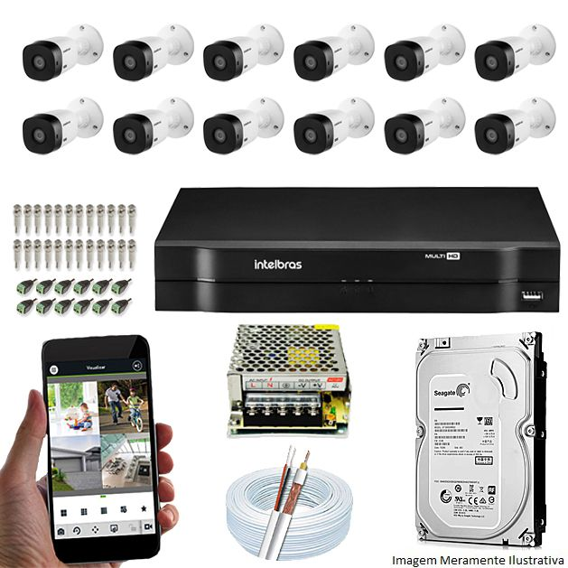 Kit Cftv 12 Câmeras Bullet HDCVI Lite VHL 1120B 720p G4 Dvr 16 Canais Intelbras MHDX + HD 500GB