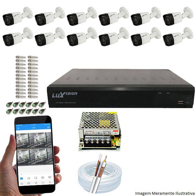 Kit Cftv 12 Câmeras Luxvision 720p Dvr 16 Canais Luxvision ECD 5 em 1 + ACESSORIOS