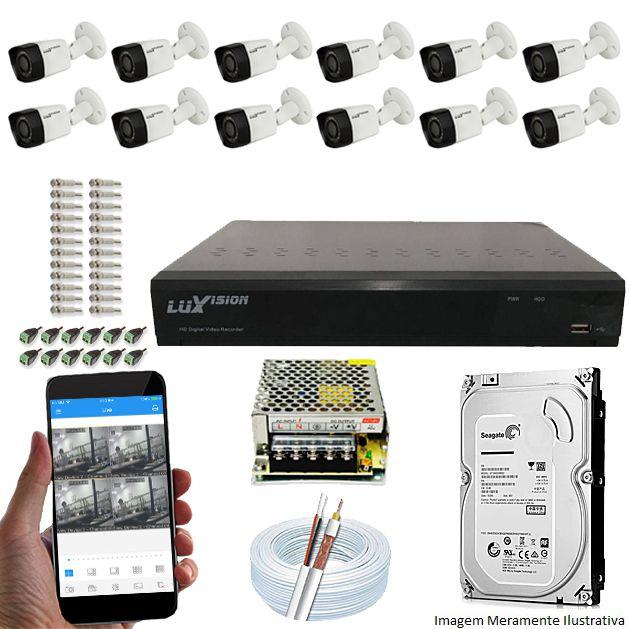 Kit Cftv 12 Câmeras Luxvision 720p Dvr 16 Canais Luxvision ECD 5 em 1 + HD 320GB