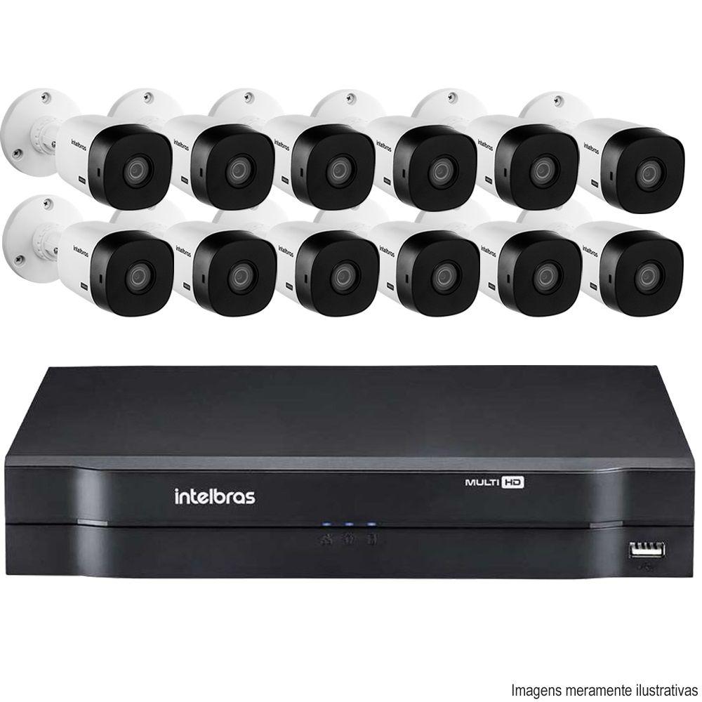 Kit Cftv 12 Câmeras VHD 1010B Bullet 720p Dvr 16 Canais Intelbras MHDX + HD 320GB