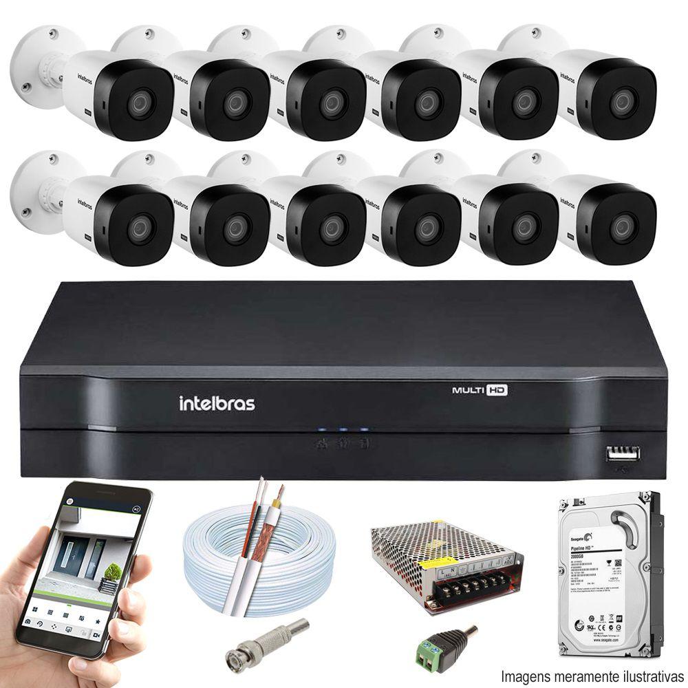 Kit Cftv 12 Câmeras VHD 1120B Bullet 720p Dvr 16 Canais Intelbras MHDX + HD 1TB