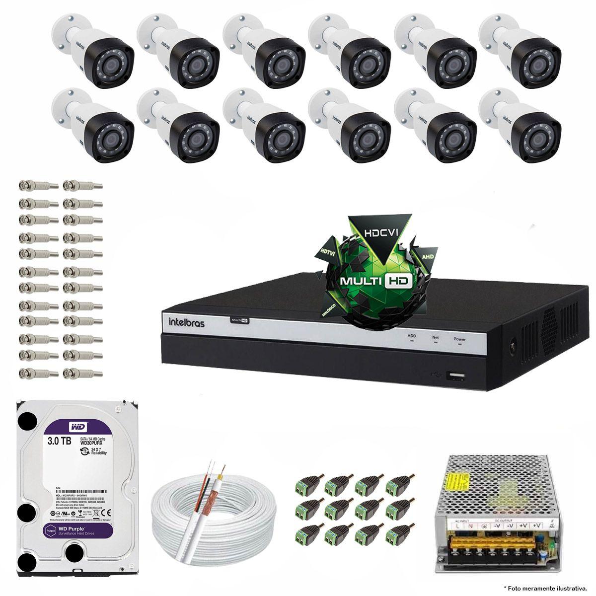 Kit Cftv 12 Câmeras Vhd 1220B 1080P 3,6Mm Dvr Intelbras Mhdx 3116 + Hd 3Tb Wdp