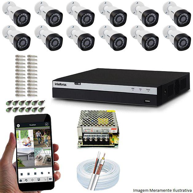 Kit Cftv 12 Câmeras Vhd 1220B 1080P 3,6Mm Dvr Intelbras Mhdx 3116 + Acessorios
