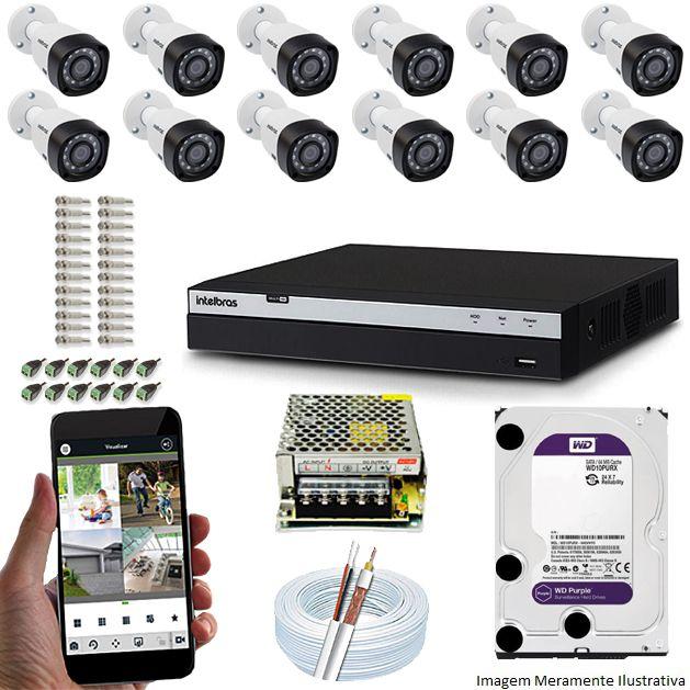 Kit Cftv 12 Câmeras Vhd 1220B 1080P 3,6Mm Dvr Intelbras Mhdx 3116 + Hd 2Tb Wdp