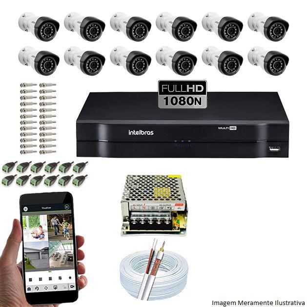 Kit Cftv 12 Câmeras VMH 1220B 1080p 3,6mm DVR Intelbras MHDX 1116 + Acessórios