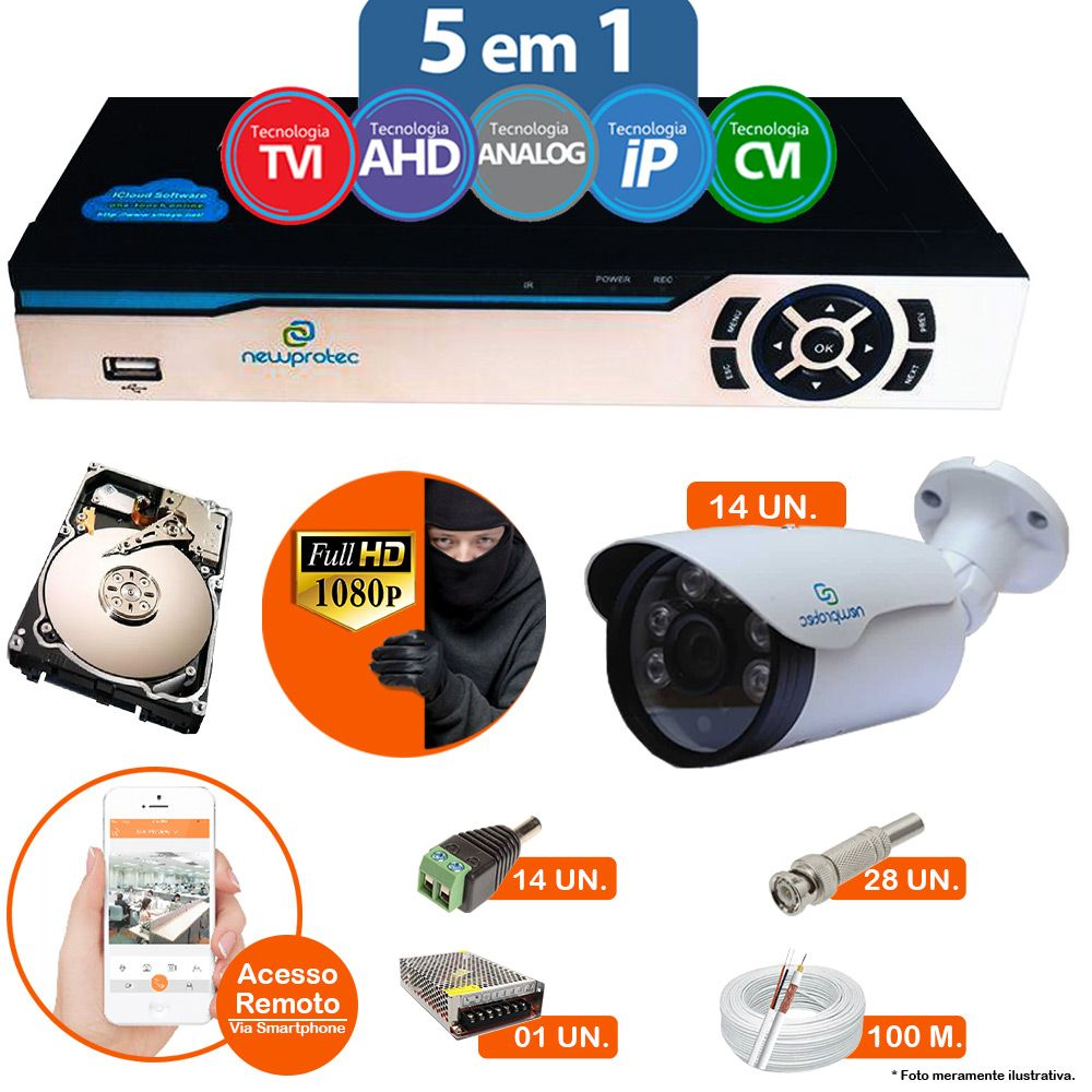 Kit Cftv 14 Câmeras 1080p IR BULLET AHD-H NP 1004 3,6MM 3.0MP Dvr 16 Canais Newprotec 5 em 1 AHD, HDCVI, HDTVI E ANALOGICO E IP + HD 500GB