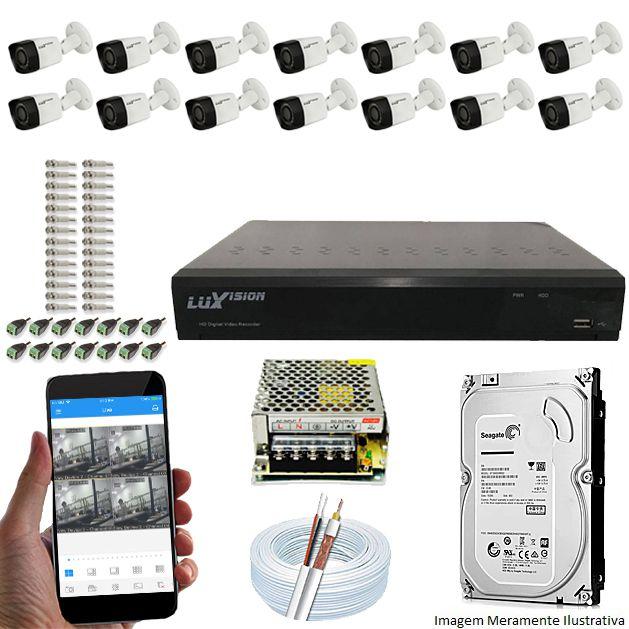 Kit Cftv 14 Câmeras Luxvision 720p Dvr 16 Canais Luxvision ECD 5 em 1 + HD 500GB