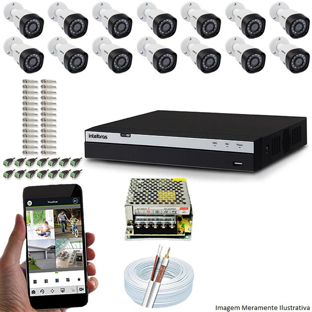 Kit Cftv 14 Câmeras Vhd 1220B 1080P 3,6Mm Dvr Intelbras Mhdx 3116 + Acessorios
