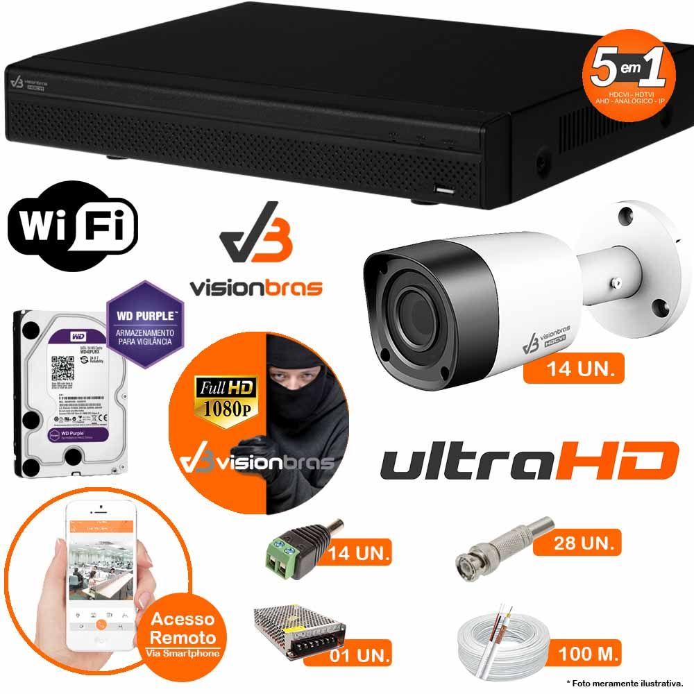 Kit Cftv 14 Câmeras Visionbras 2MP 1080p 3,6MM Dvr 16 Canais Visionbras XVR 1080p + HD PURPLE 2 TB