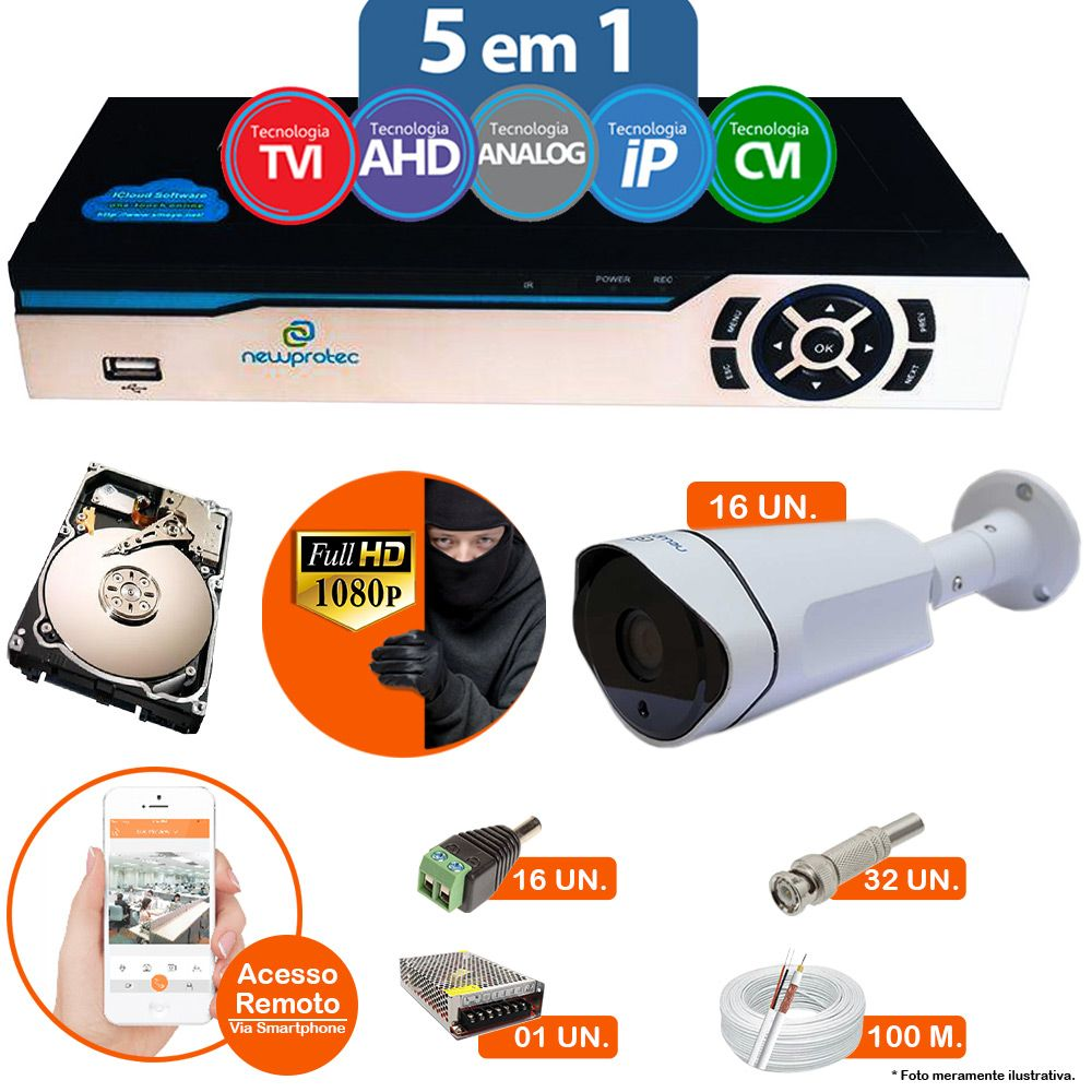 Kit Cftv 16 Câmeras 1080p IR BULLET AHD-H NP 1002 3,6MM 3.0MP Dvr 16 Canais Newprotec 5 em 1 AHD, HDCVI, HDTVI E ANALOGICO E IP + HD 2TB