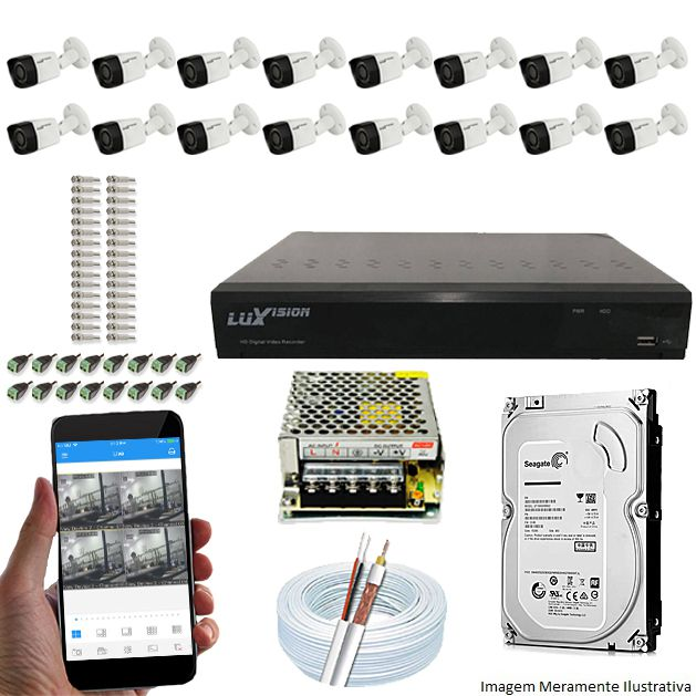 Kit Cftv 16 Câmeras Luxvision 720p Dvr 16 Canais Luxvision ECD 5 em 1 + HD 500GB