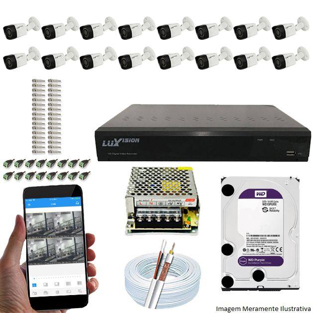 Kit Cftv 16 Câmeras Luxvision 720p Dvr 16 Canais Luxvision ECD 5 em 1 + HD WDP 1TB