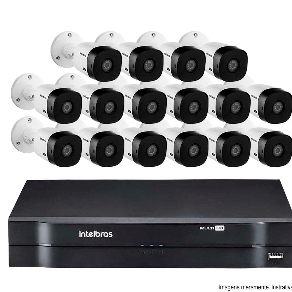 Kit Cftv 16 Câmeras Vhd 1010B Bullet 720P Dvr 16 Canais Intelbras Mhdx + Acessórios