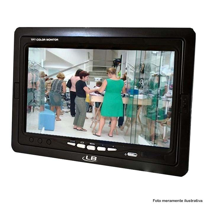"""KIT CFTV 1 Câmera CCD Infravermelho 1200 TVL 3,6MM + Monitor 7"""" + Acessórios"""