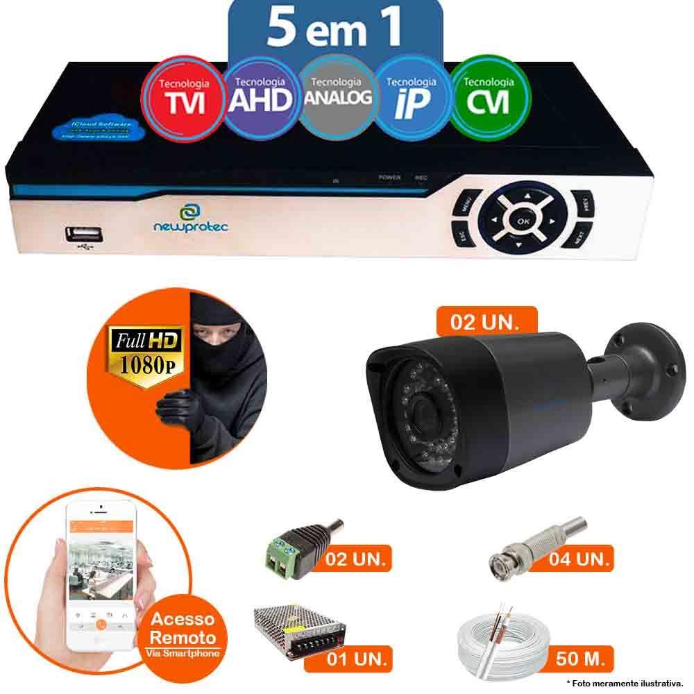 Kit Cftv 2 Câmeras 1080p IR BULLET AHD-H NP 1000 3,6MM 3.0MP Dvr 4 Canais Newprotec 5 em 1 AHD, HDCVI, HDTVI E ANALOGICO E IP + ACESSORIOS