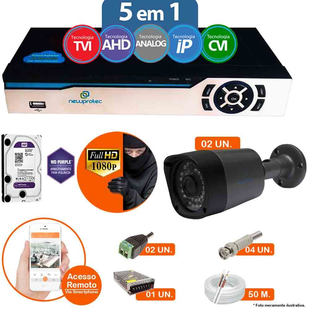 Kit Cftv 2 Câmeras 1080p IR BULLET AHD-H NP 1000 3,6MM 3.0MP Dvr 4 Canais Newprotec 5 em 1 AHD, HDCVI, HDTVI E ANALOGICO E IP + HD WESTERN DIGITAL PURPLE 1TB