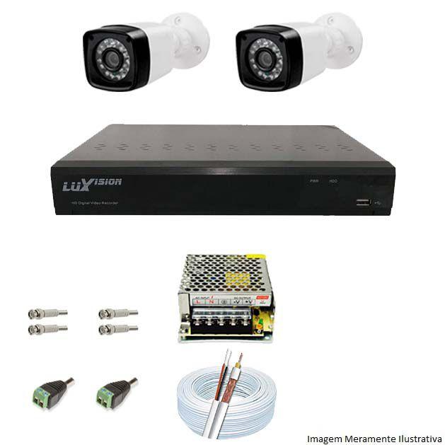 Kit Cftv 2 Câmeras AHD Bullet 720p Dvr 4 Canais Luxvision 5 em 1 + Acessórios