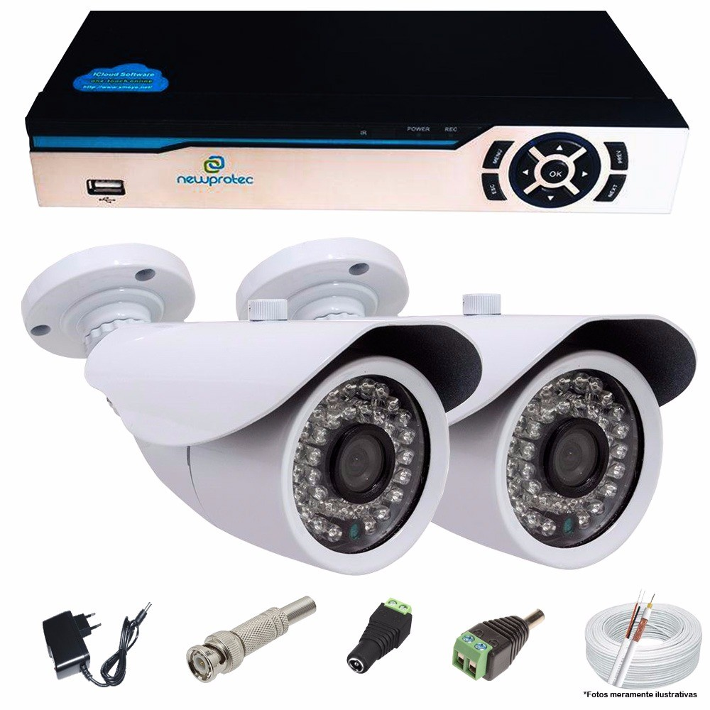 KIT CFTV 2 Câmeras AHD Infravermelho 1.3MP + DVR 4 canais 5 em 1 Newprotec