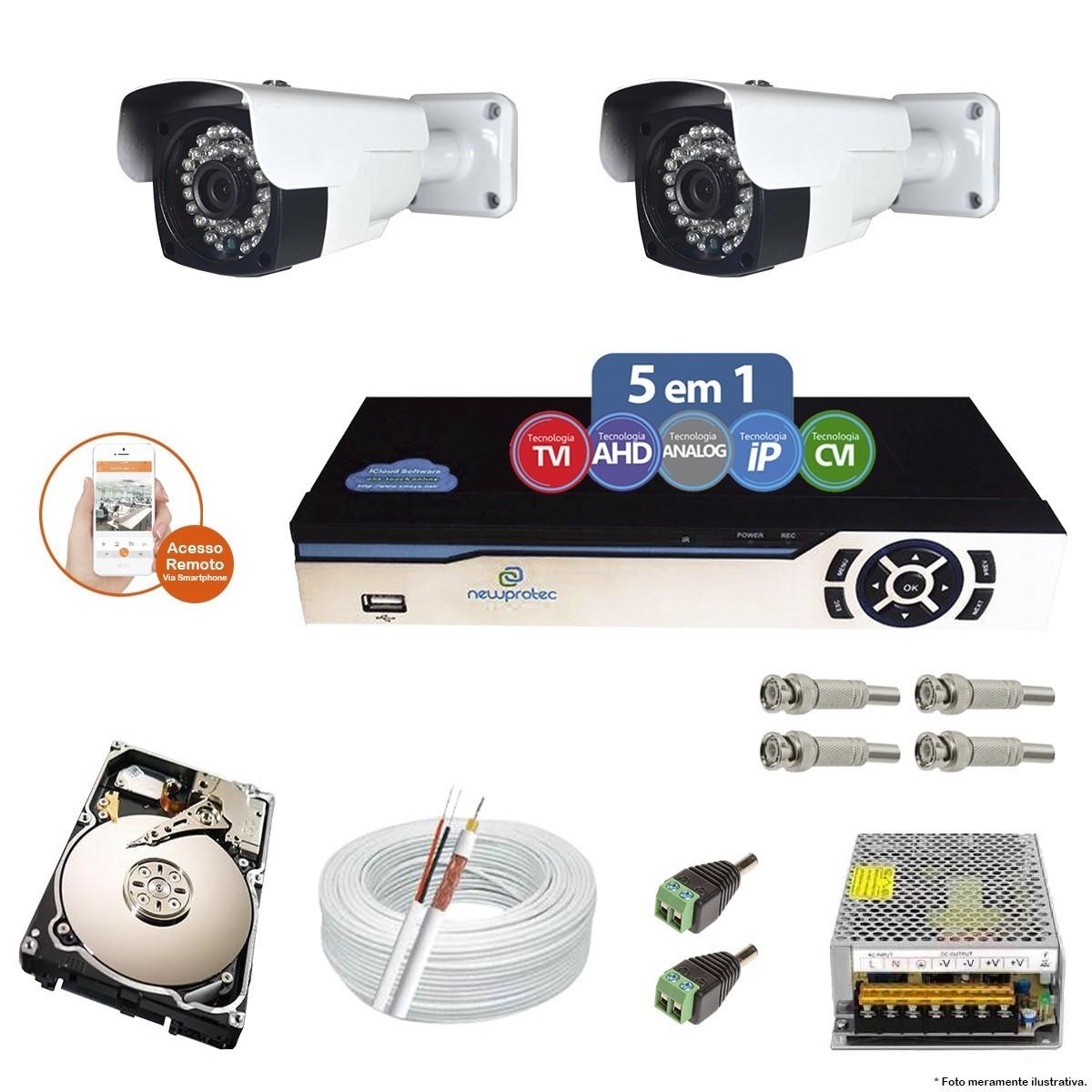 Kit Cftv 2 Câmeras AHD-M 2.0MP 720p 3,6mm DVR 4 Canais Newprotec + HD 500GB