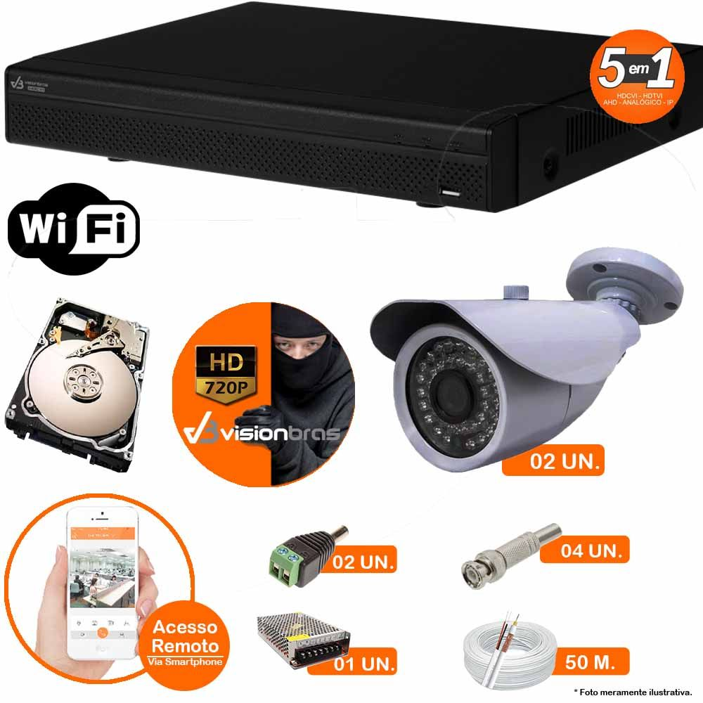 Kit Cftv 2 Câmeras AHD-M 7007 1.3MP 720P 3,6MM Dvr 4 Canais Visionbras XVR 720p + HD 2 TB