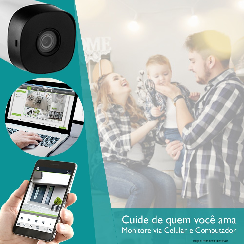 Kit Cftv 2 Câmeras Bullet HDCVI Lite 1120B 720p G4 Dvr 4 Canais Intelbras MHDX + HD 1TB