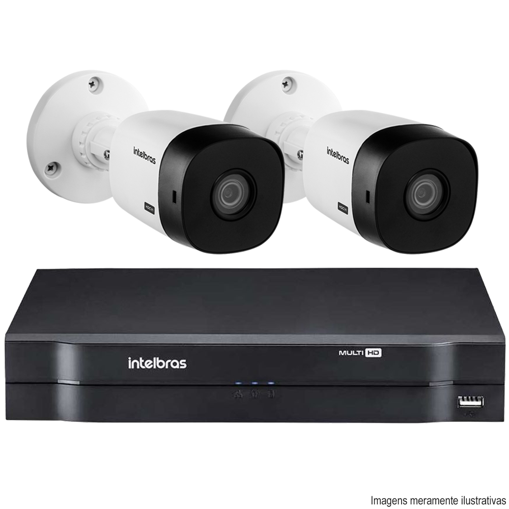 Kit Cftv 2 Câmeras Bullet HDCVI Lite 1120B 720p G4 Dvr 4 Canais Intelbras MHDX + HD 500GB