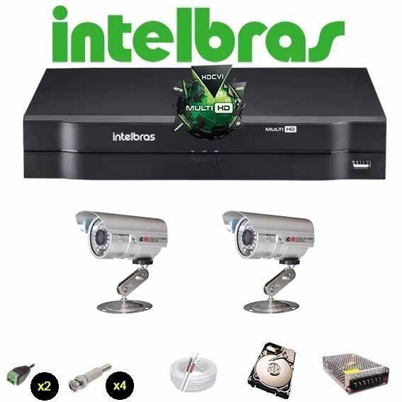 KIT CFTV 2 Câmeras CCD Infravermelho 1200 TVL  DVR 4 Canais Intelbras MultiHD + HD 320 GB