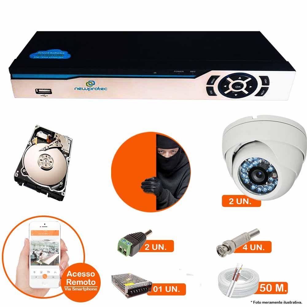 Kit Cftv 2 Câmeras Dome CCD 1200L INFRA Dvr 4 Canais Newprotec 5 em 1 + HD 320GB