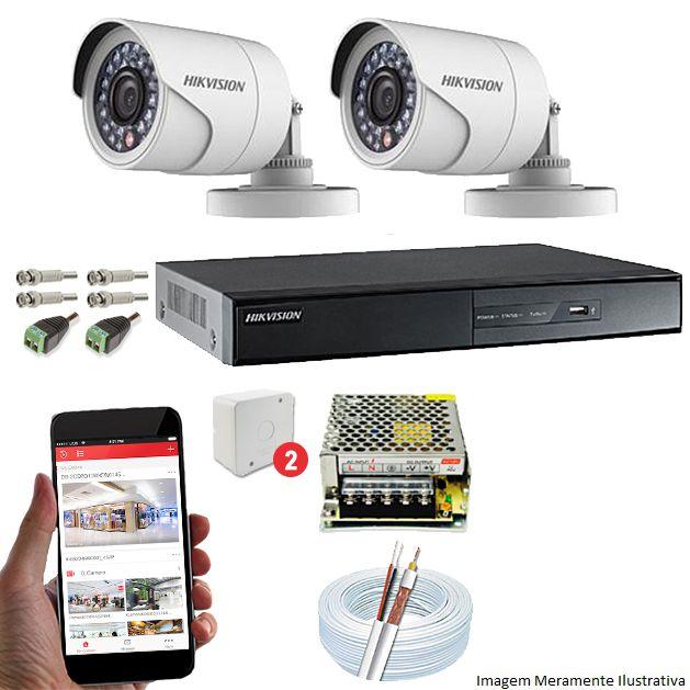 Kit CFTV 2 Câmeras Hikvision DVR 4 canais DS-7204 Acessórios