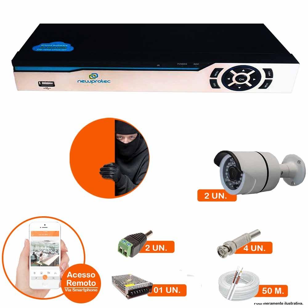 Kit Cftv 2 Câmeras Ir Cut Infravermelho 1500L Dvr 4 Canais Newprotec + HD 500GB