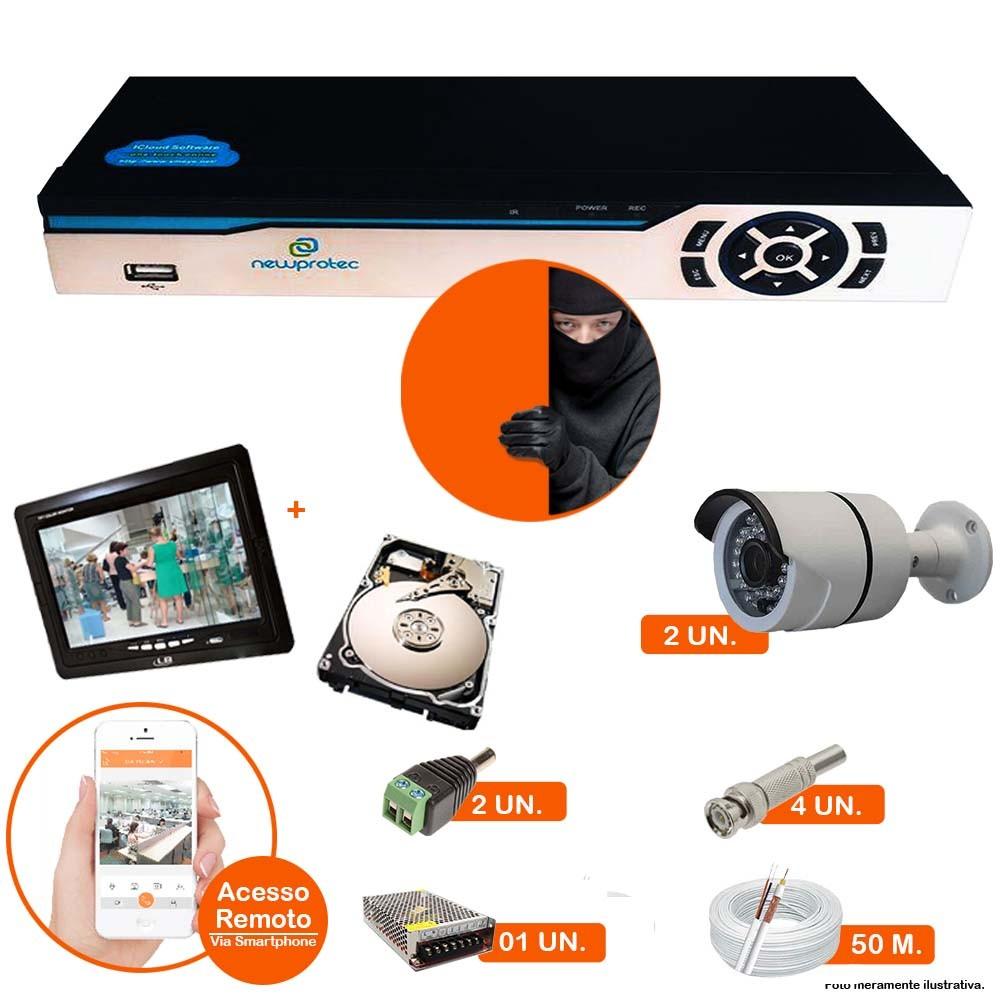 Kit Cftv 2 Câmeras Ir Cut  1500L Dvr 4 Canais Newprotec HD 500GB + Tela 7