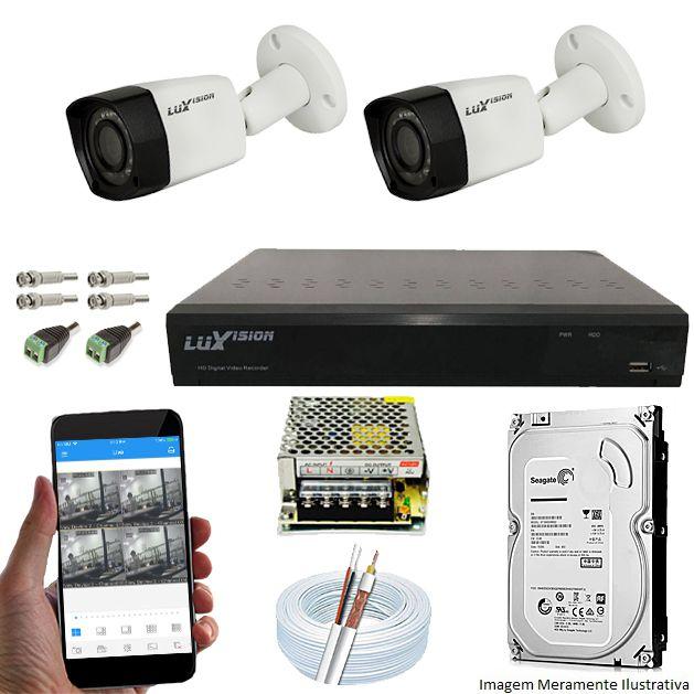 Kit Cftv 2 Câmeras Luxvision 720p Dvr 4 Canais Luxvision ECD 5 em 1 + HD 1TB