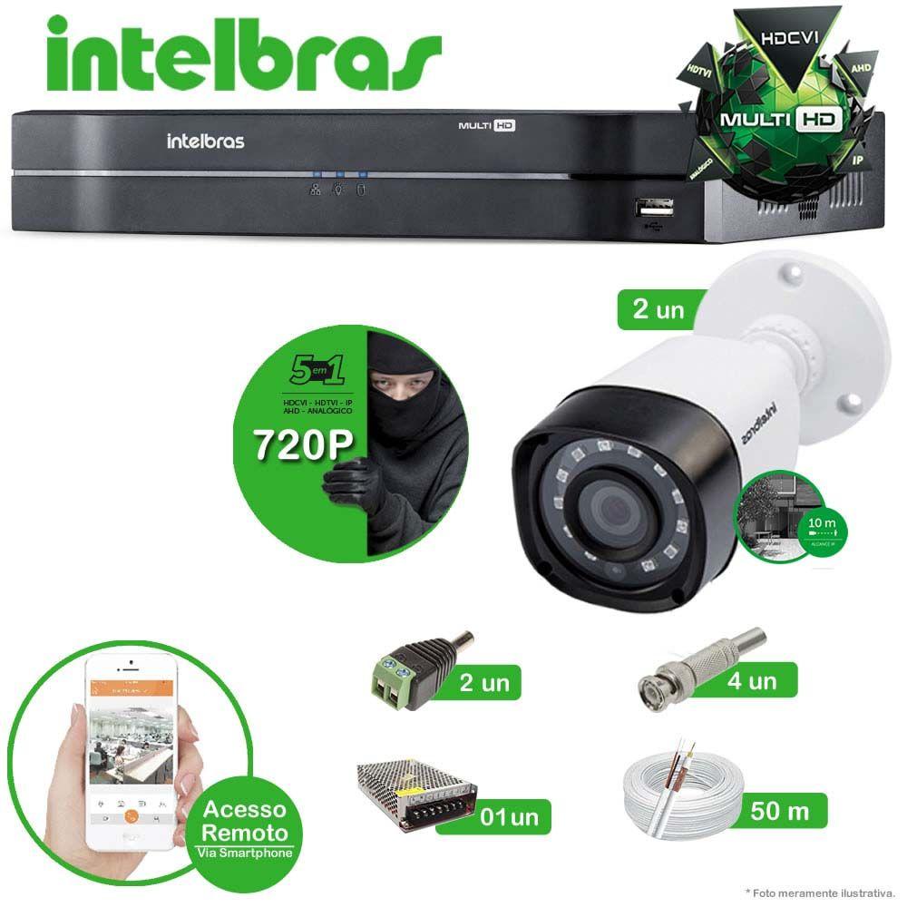 Kit Cftv 2 Câmeras Multi HD VHD 1010B Bullet Infravermelho 3,6MM 720p Dvr 4 Canais Intelbras MHDX 5 em 1 AHD, HDCVI, HTVI E ANALOGICO E IP + CABO